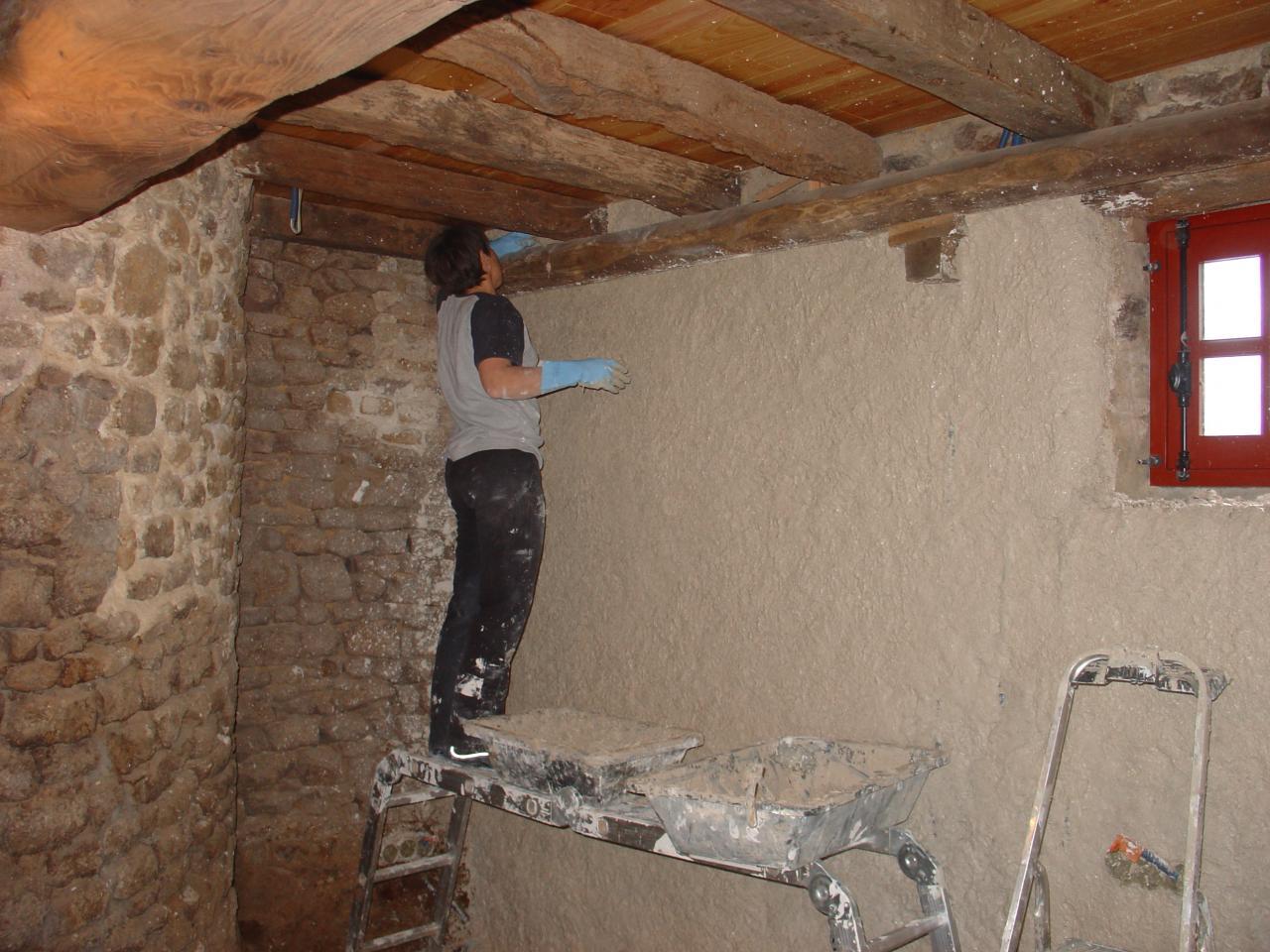 Enduit chaux chanvre for Mur en chaux interieur
